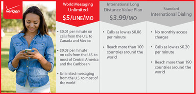 Verizon Wireless' World Messaging Unlimited promotion makes it easier for customers to connect and save on calls made from within the United States to most of North and Central America and the Caribbean, as well as on messaging from the U.S. to most countries around the world. (PRNewsFoto/Verizon Wireless) (PRNewsFoto/VERIZON WIRELESS)