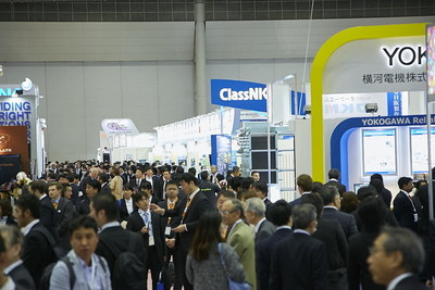 Packed aisles at Sea Japan 2016 international maritime exhibition in Tokyo