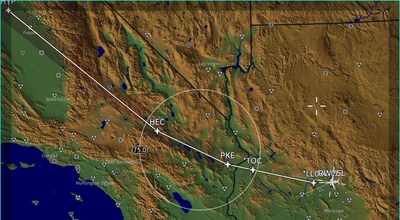 Image of Honeywell's predictive software display shows unacceptable sonic booms will occur in the gray shaded area with red curves if the current flight plan is not modified.