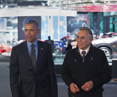 NAIAS Chairman Paul Sabatini discusses the 2016 NAIAS and new vehicle technology with President Barack Obama as they tour the show.
