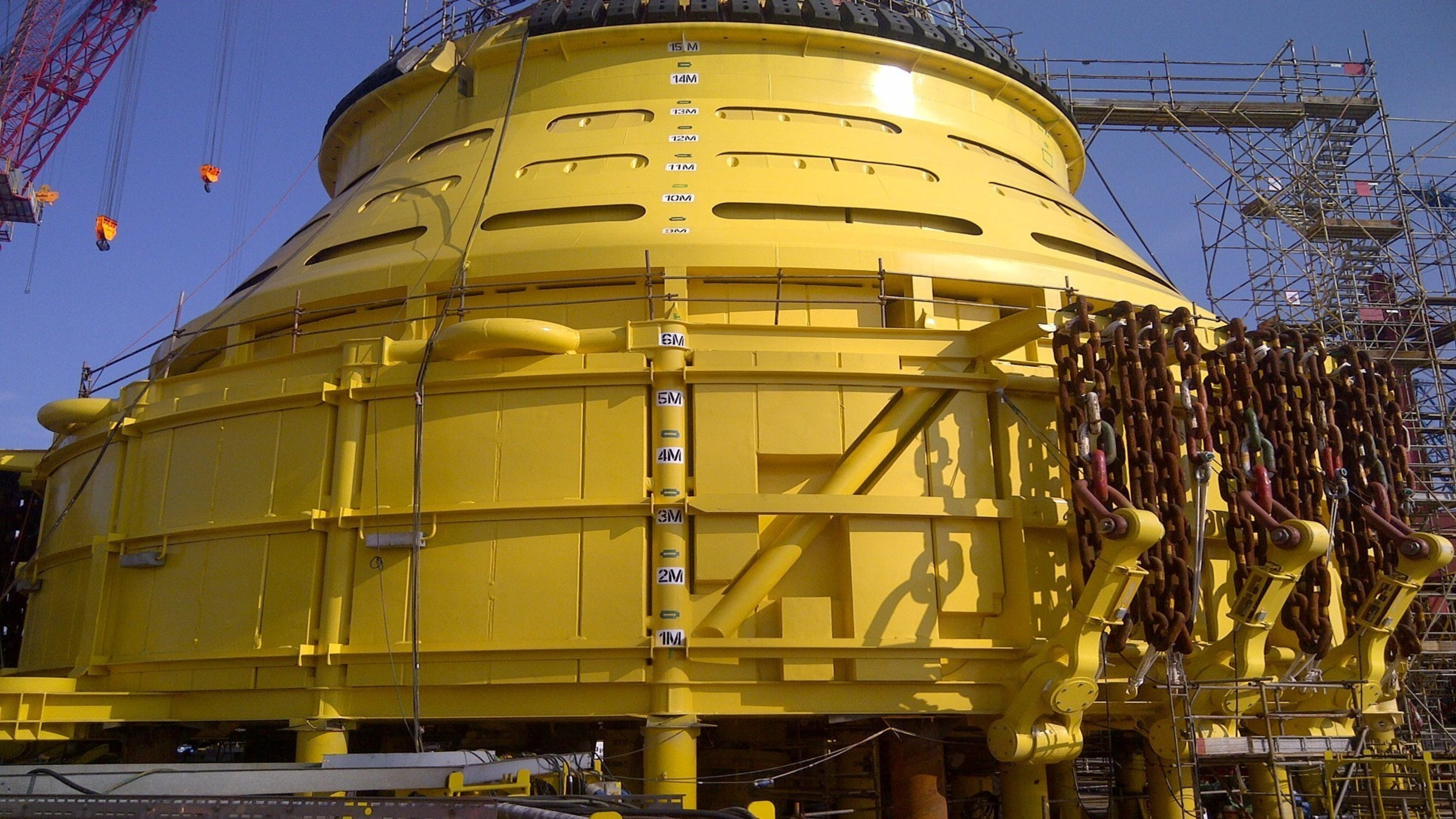 During severe weather, a turret with a disconnectable buoy allows the FPSO vessel to detach and safely sail away from the field.