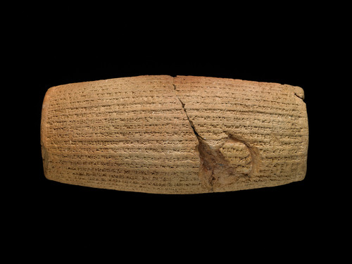 The Cyrus Cylinder, a clay object covered in Babylonian writing, has become one of the most important artifacts from the ancient world. It makes its U.S. debut at the Smithsonian's Arthur M. Sackler Gallery in early March. Image credit: British Museum, London, ME 90920, photo: (c)The Trustees of the British Museum.  (PRNewsFoto/Smithsonian Institution)