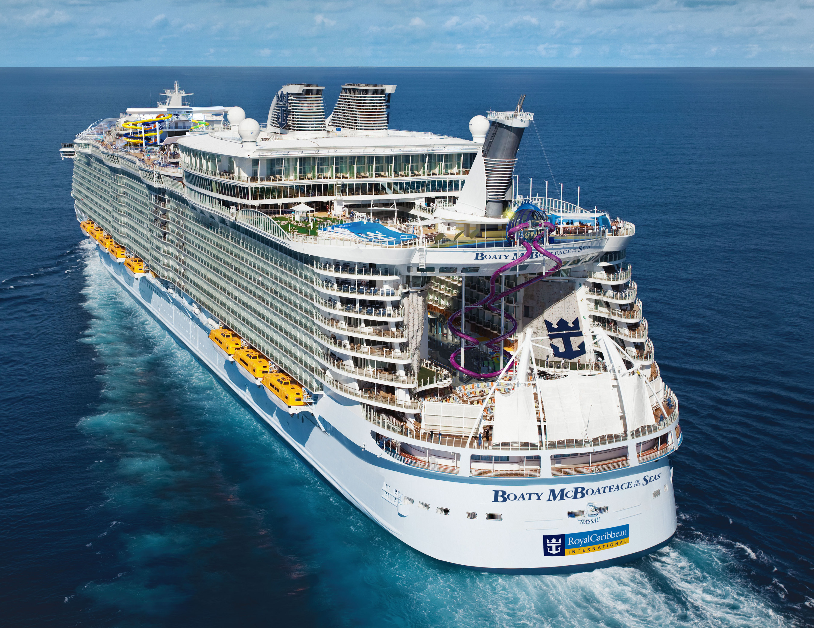 Royal Caribbean's newest and biggest ship yet, Harmony of the Seas, is imagined as Boaty McBoatface of the Seas. The cruise line has invited UK-based James Hand, the wordsmith behind the creative Boaty McBoatface name to sail on Harmony when she launches in Southampton, UK this May. In return, Hand will share his best suggestions to help name a future Royal Caribbean ship.