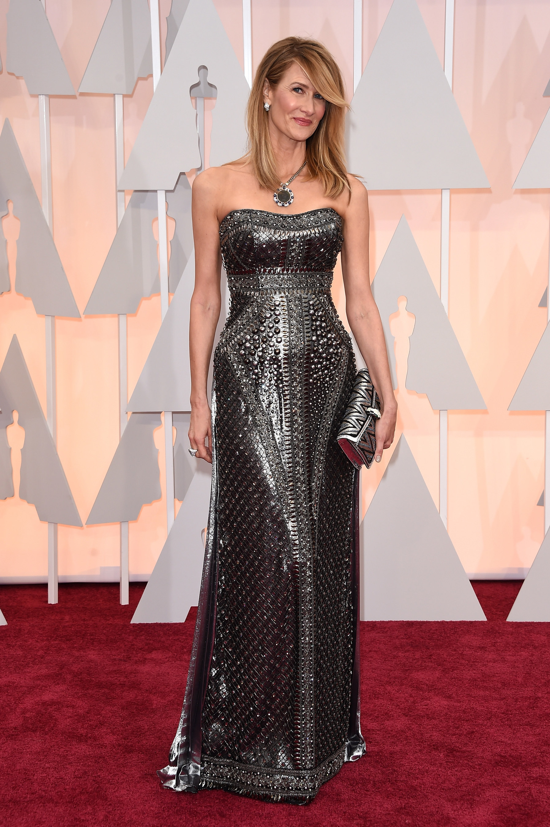 Best Supporting Actress nominee Laura Dern at the Oscars(R) Red Carpet wearing a Bulgari turquoise ring in ...