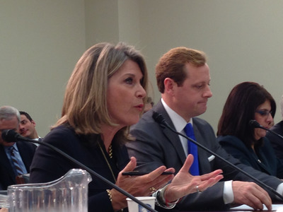 Kathleen Matthews, Chief Global Communications and Public Affairs Officer, Marriott International, delivering testimony to the U.S. House of Representatives Subcommittee on Commerce, Manufacturing and Trade.  (PRNewsFoto/Marriott International, Inc.)