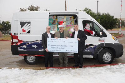 Christmas came early today for the Warrior & Family Support Center at the San Antonio Military Medical Center. The Ram Truck Brand rolled into town with mounds of fresh snow and generous gifts including a 2014 ProMaster van stuffed with supplies, toys, diapers, and $25,000 for Wounded Warriors and their families. Ram Truck teamed up with The Chrysler Foundation,  Chrysler's Southwest Business Center, and the Air Warrior Courage Foundation to bring holiday cheer to the Warrior & Family Support Center. Pictured (L to R): Rob Rizzo - The Ram Truck Brand; Frank Blakely - W&FSC; and Brian Szalk - The Ram Truck Brand.  (PRNewsFoto/Chrysler Group LLC)