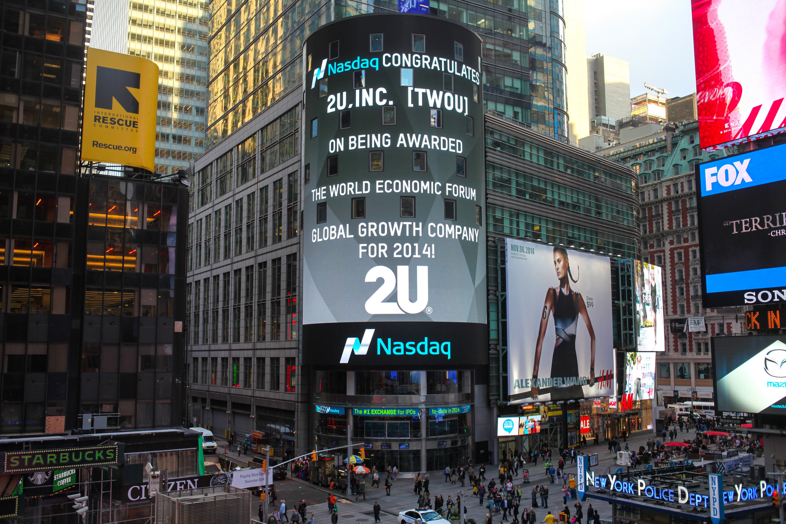 Nasdaq congratulates 2U, Inc. on being named one of the World Economic Forum's newest members of the Global  ...