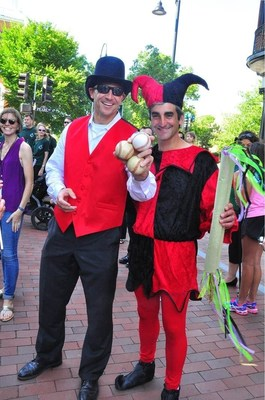 Merchants Bank's President and CEO Geoffrey Hesslink and Burlington's Mayor Miro Weinberger at the Festival of Fools Parade.Photo Credit: Melani Broe