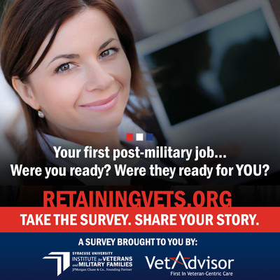 The Veterans Job Retention Survey focuses on determining the reasons why veterans leave their initial post-military jobs. All interested veterans and service members are encouraged to participate in the survey at retainingvets.org.  (PRNewsFoto/Syracuse University)