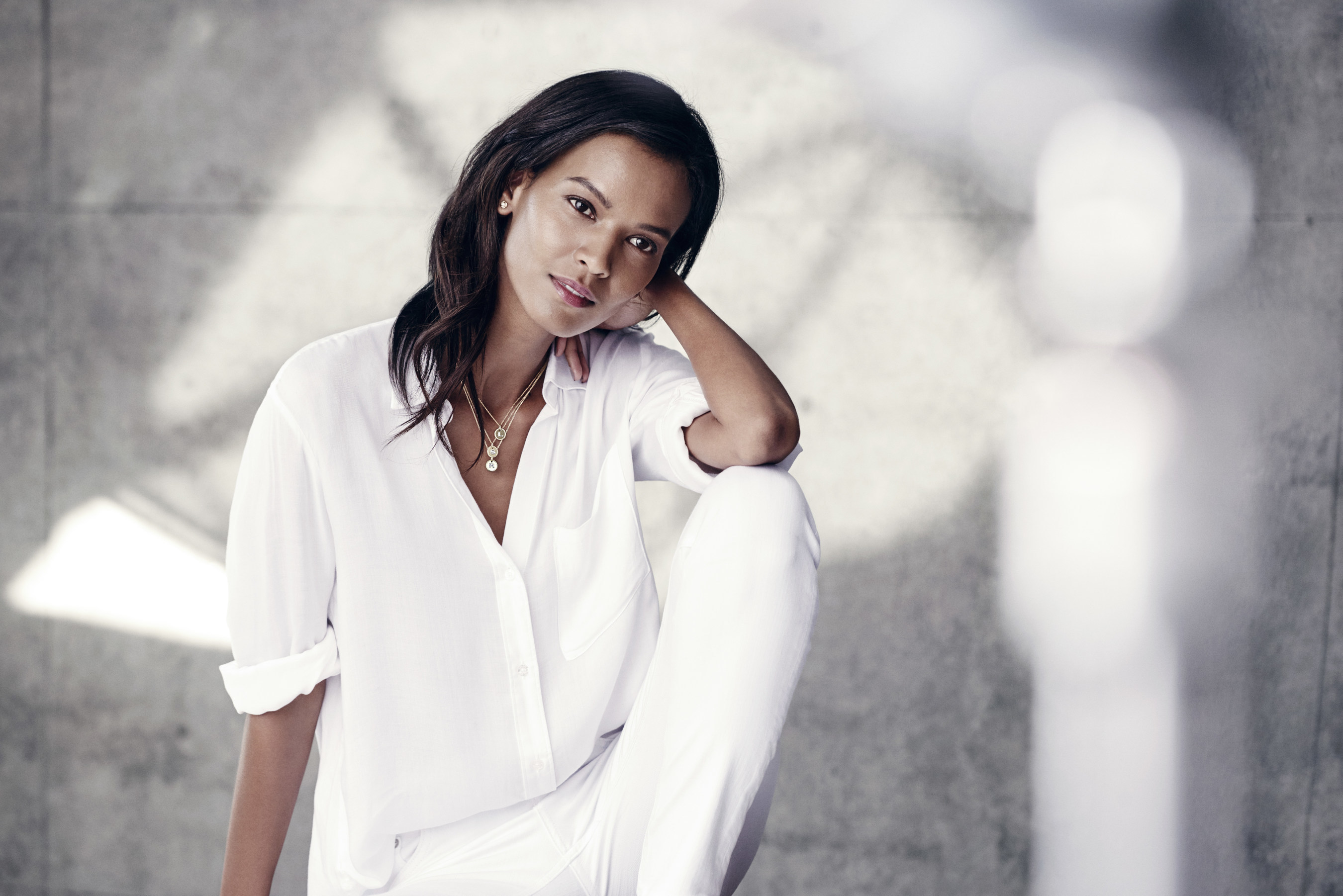 Liya Kebede Is Wearing Cable Collectibles R Initial Charms And Infinity Earrings In 18k