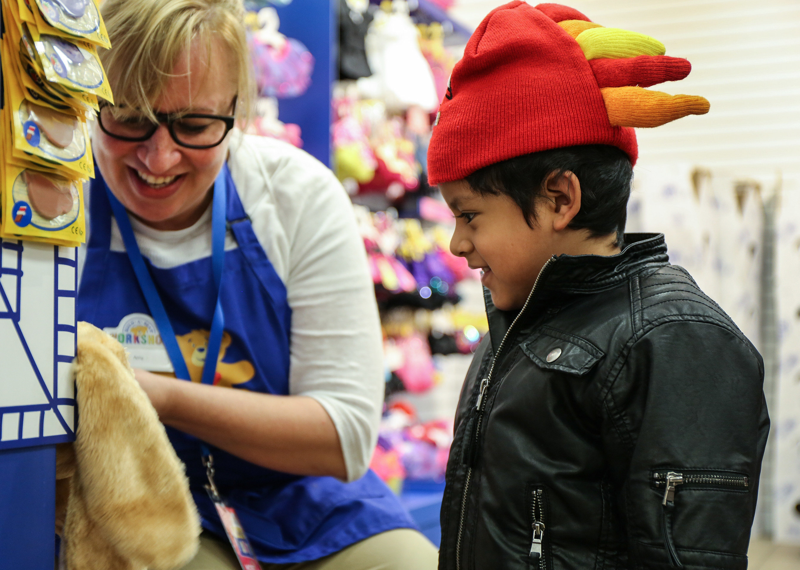 Vitonio with Build-A-Bear Workshop Chief Workshop Manager Amy Robinson, is stuffing a furry friend to celebrate the Share Your Heart cause campaign benefitting Save the Children's Journey of Hope program. The Build-A-Bear Foundation matched $100,000 of guest donations to raise more than $300,000 for children in need in the United States, Canada and the United Kingdom. Photo courtesy of Save the Children.