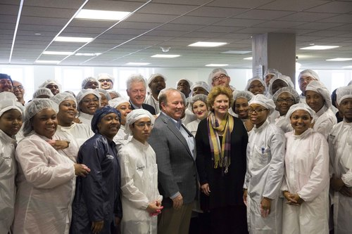 President Clinton, Detroit Mayor Mike Duggan, U.S. Senator Debbie Stabenow, Shinola Factory Workers  ...