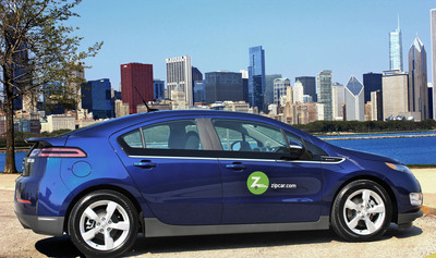 Zipcar launches electric vehicle pilot program in Chicago with the introduction of Chevrolet Volt EVs into the fleet.  (PRNewsFoto/Zipcar, Inc.)