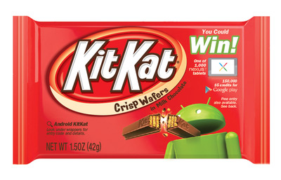 As part of the U.S. campaign, Kit Kat brand and Google will offer consumers the chance to win 1,000 Nexus 7 tablets, 150,000 Google Play $5.00 credits and 20,000 coupons for a free 8 ounce bag of Kit Kat Minis between September 6, 2013 and January 31, 2014.  (PRNewsFoto/The Hershey Company)