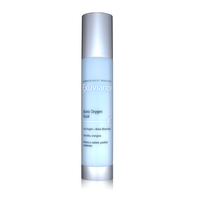 Exuviance Bionic Oxygen Facial, a unique mask containing pure essential Oxygen plus a Bionic Complex energizes and detoxifies, bringing new life to stressed skin.