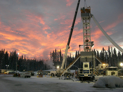 Completion operations at Apache Canada's D-34-K well in the Liard Basin in northern British Columbia, Canada. Apache Corporation (NYSE, Nasdaq: APA) announced Dec. 24, 2012, that its subsidiary Apache Canada Ltd. has signed a broad agreement with Chevron Canada Limited to build and operate the Kitimat LNG project and develop world-class shale gas resources at the Liard and Horn River basins in British Columbia, Canada.  (PRNewsFoto/Apache Corporation)