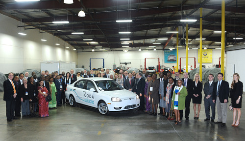 45 global leaders and distinguished guests toured CODA Holdings, a leading developer of all-electric vehicles ...