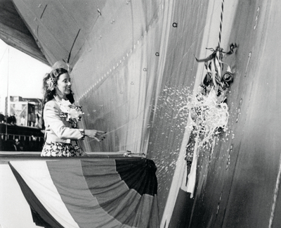 Barbara Cox christened the USS Midway in 1945.