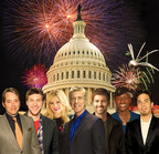 A CAPITOL FOURTH Special Guests (L-R): Matthew Broderick, Phillip Phillips, Megan Hilty, Tom Bergeron, Josh Turner, Javier Colon, Apolo Anton Ohno.  (PRNewsFoto/Capital Concerts and PBS, Courtesy of Capital Concerts (Matthew Broderick (C)Bennett Raglin; Javier Colon (C)WireImage; Apolo Anton Ohno (C)Getty Images))