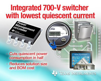 "TI high-voltage switcher delivers energy savings to ""always-on"" smart meters, home automation designs"