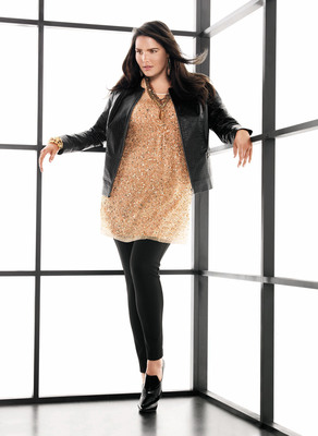 A look from Lane Collection, new from Lane Bryant includes: Leather Zip Up Jacket ($295), Sequin Tunic ($150) and Ponte Jegging ($78).  (PRNewsFoto/Lane Bryant)