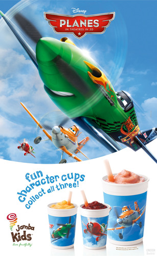 "The Jamba Kids(TM) ""Disney's Planes""-themed cups feature the film's characters: Dusty, Ripslinger and El Chupacabra.  (PRNewsFoto/Jamba Juice Company)"