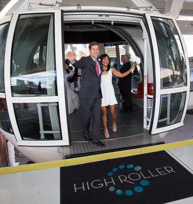 Andy and Melinda Leeka of Southern California renew their vows for free riding the High Roller at the LINQ Promenade in Las Vegas on 12/13/14.