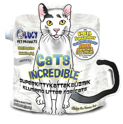 Cats Incredible litter in ergonomic, two-handled, cat shaped bag with side spout for easy pour.