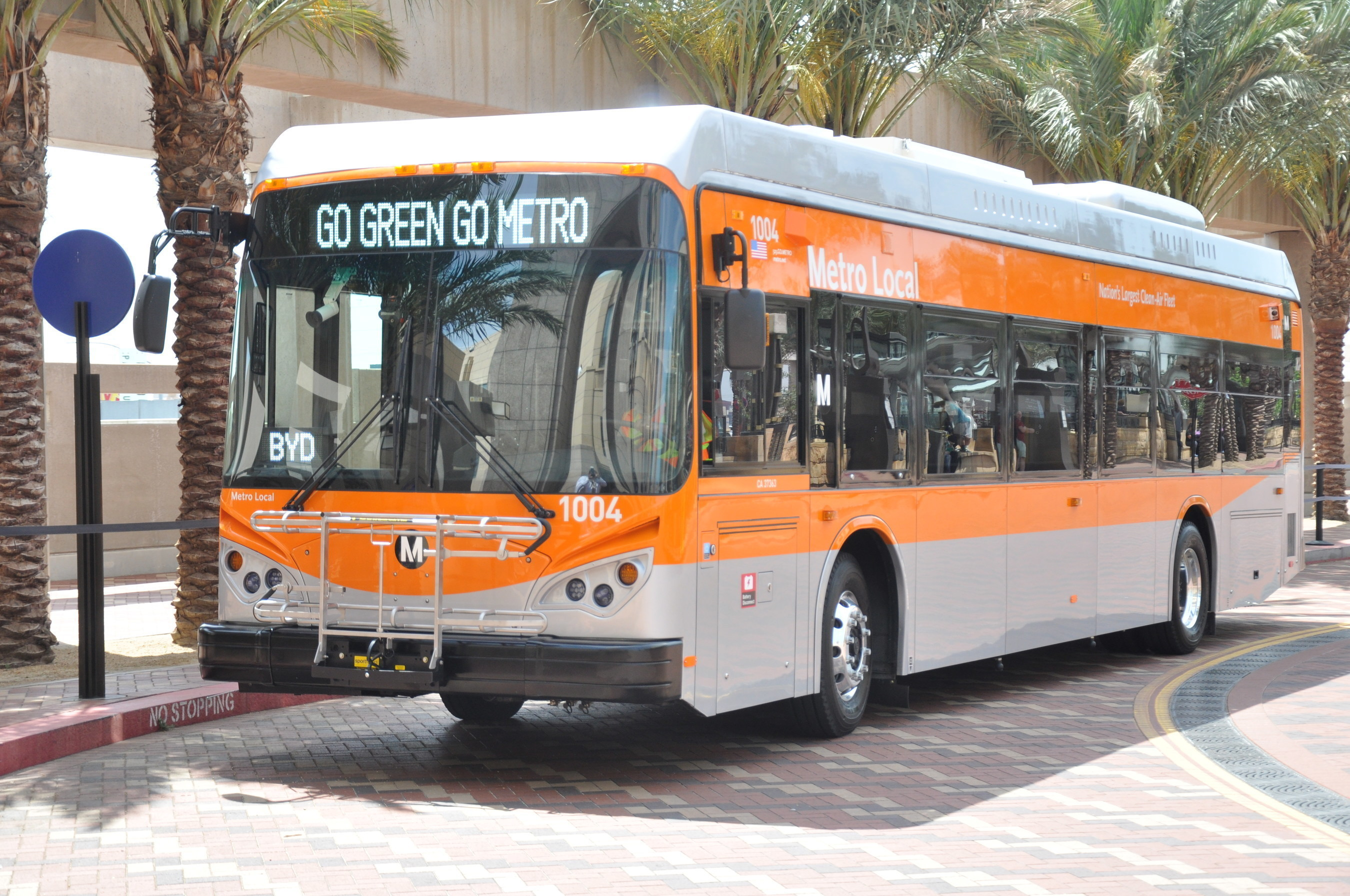 One of Los Angeles Metro's first Battery Electric Transit Buses built by Southern California Electric Vehicle manufacturer BYD Motors