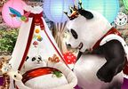 The design shows the panda mascot looking at a little panda baby lying in the crib.
