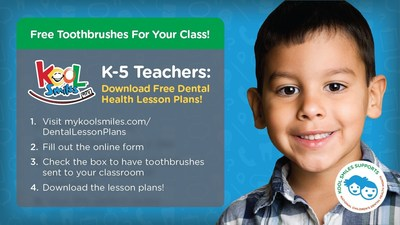 Kool Smiles Offers Free Dental Lesson Plans, Toothbrushes to Classrooms Nationwide during Children's Dental Health Month
