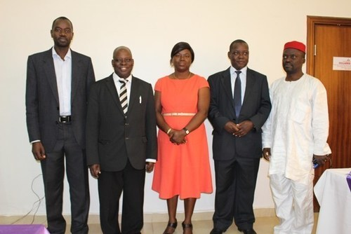 From left: Mr Obadia Miroro, Assistant Knowledge Manager at African Economic Research Consortium (AERC); Prof. Victor Adeyeye, Acting Director General of the Nigeria Social and Economic Research Institute (NISER); Dr (Mrs) Opeyemi Fadeyibi, Service Delivery Indicators Field Coordinator at The World Bank; Wilson Wasike, Manager Collaborative Research AERC; and Dr Adebayo Ajala, Social and Governance Policy Research Department at NISER, at the media workshop on Service Delivery Indicators in Abuja,on Thursday (PRNewsFoto/Cihan Group)