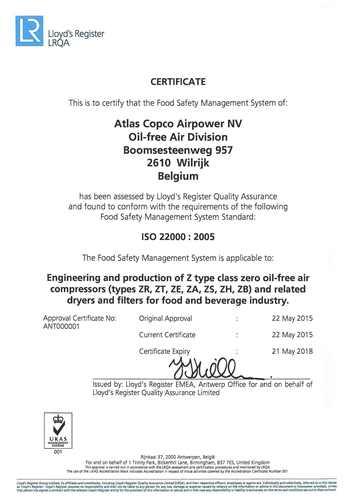 ISO 22000 Certificate Atlas Copco Antwerp (PRNewsFoto/Atlas Copco Services Middle East)