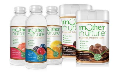 Mother Nurture Enhanced Waters and Chocolate Truffles, made to work in harmony with prenatal vitamins.