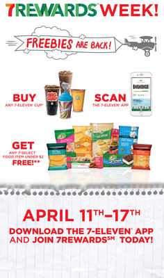 Monday, April 11, through Sunday, April 17, is 7-Eleven 7Rewards Week. Buy any cup, scan app and get a FREE 7-Select(TM) food item valued up to $2.