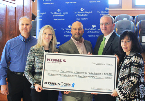 The Children's Hospital of Philadelphia received a $620,436 donation from Kohl's to support the hospital's injury prevention program. The donation was presented to CHOP officials today at a community car seat distribution. From left: Dominic Pavalik, Kohl's Warminster store manager; Carrie Kronmiller, Kohl's Doylestown store manager; Vince Fabrizio, Kohl's District Manager; Stuart Sullivan, Executive Vice President and Chief Development Officer, The Children's Hospital of Philadelphia; Marla Vanore, Director of ...