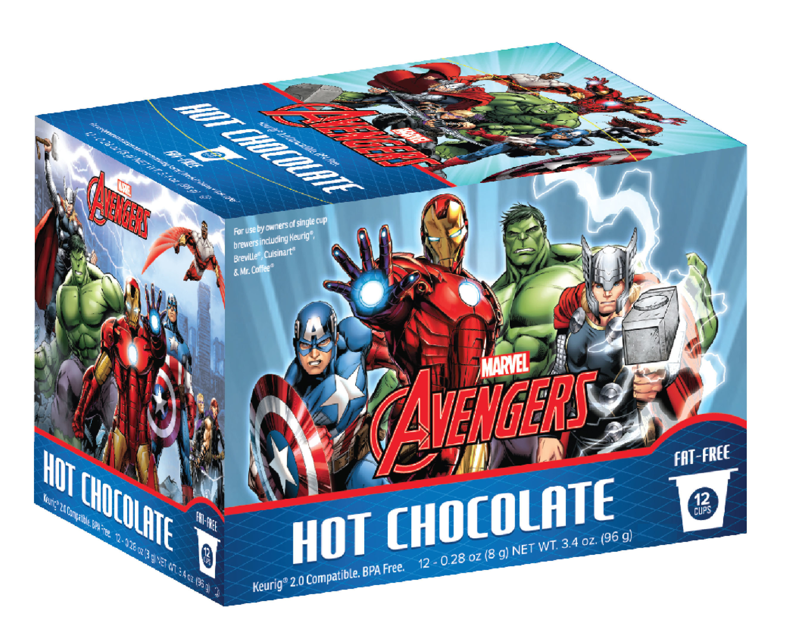 Marvel Comic Coffee and Marvel's Avengers Hot Chocolate will be available in retail outlets nationwide later this year. The cups produced will be 2.0 compatible, for use with the Keurig(R) system and similar coffeemakers. Both products will be on-hand at the at the upcoming New York Comic Con, the largest pop culture event on the East Coast, held October 8-11th at the Javits Center.