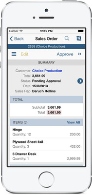 NETSUITE ANNOUNCES NETSUITE FOR IPHONE 2.1, WORLD'S FIRST END-TO-END ERP iOS 7 APPLICATION.  (PRNewsFoto/NetSuite Inc.)