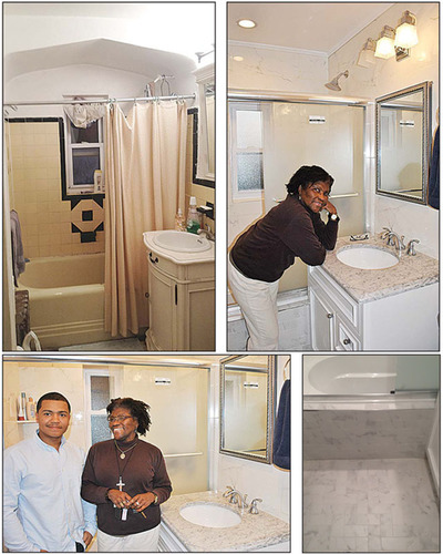 Clockwise from top left: Patricia Keanes-Douglas' bathroom before HRA sponsored renovation, Keanes-Douglas happily posing on her new vanity in completed bathroom after HRA renovation, HRA representative Carlos Fontanez and Keanes-Douglas posing in ...