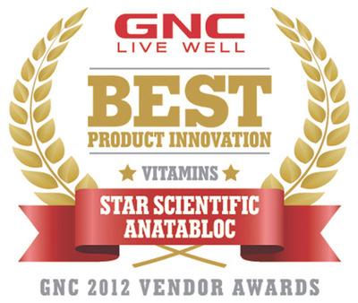 GNC Recognizes Anatabloc(R) as a Top Vendor of 2012.  (PRNewsFoto/Star Scientific, Inc.)