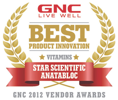 GNC Recognizes Anatabloc(R) as a Top Vendor of 2012.  (PRNewsFoto/Star Scientific, Inc.)