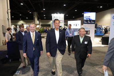 AUVSI President and CEO Brian Wynne walks the show floor with Congressman Frank Lobiondo (R-NJ).