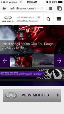 Infiniti launches mobile online newsroom