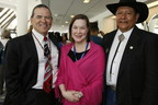 NICWA Executive Director Sarah Kastelic (center) is pictured with NCAI President Brian Cladoosby (left) and NICWA President Gil Vigil (right).