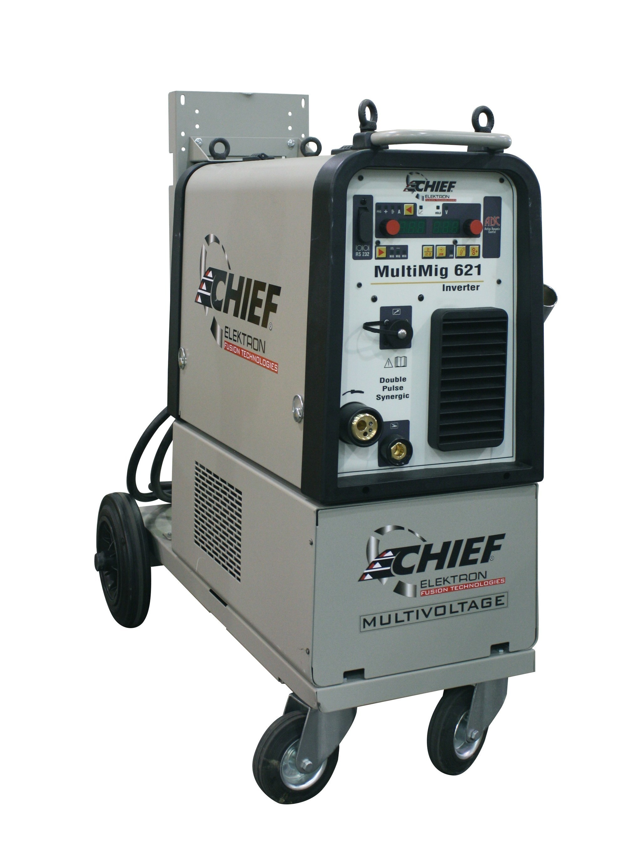 The new Chief MultiMig 621 inverter synergic pulse MIG/MAG welder is a three-phase, high-amperage model designed for welding and brazing aluminum, galvanized sheet metal, stainless steel and high-strength steel.