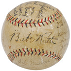 "The ""I'll Knock a Homer For You"" baseball autographed by Babe Ruth and inscribed by five other New York Yankees. Grey Flannel Auctions image.(PRNewsFoto/Grey Flannel Auctions)"