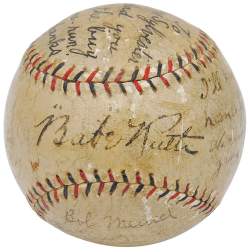 "The ""I'll Knock a Homer For You"" baseball autographed by Babe Ruth and inscribed by five other New York Yankees. Grey Flannel Auctions image.(PRNewsFoto/Grey Flannel Auctions) (PRNewsFoto/GREY FLANNEL AUCTIONS)"