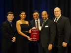 Burns & McDonnell's Employee-Owners Accept the ACEC-Georgia Engineering Employer of the Year. From left--to-right: Garrett Hansen, Sabrena Jeter, Eddie Beho, Quentin Slate, Kent Henson.