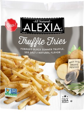 Alexia Truffle Fries - The all-new Alexia Truffle Fries capture the full aroma and complex flavor of black truffles often enjoyed at high-end restaurants. The Non-GMO verified fries are also made with organic potatoes, as well as black summer truffles foraged from the slopes of northern Italy and seasoned with Mediterranean sea salt.