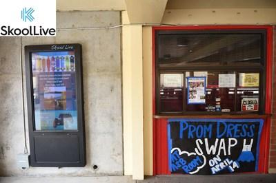 SkoolLive kiosk (left) next to a typical school bulletin board